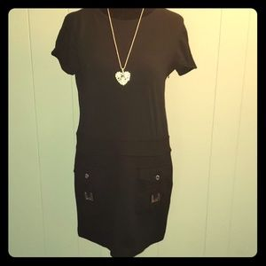 Michael Kors Black Mod Silver Buckle Mini Dress 8